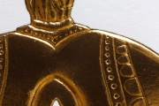 Detail of Gold Foil Embossed Falconry Hood