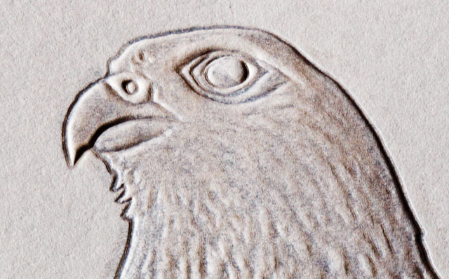 Detail of Embossed Falcon Head